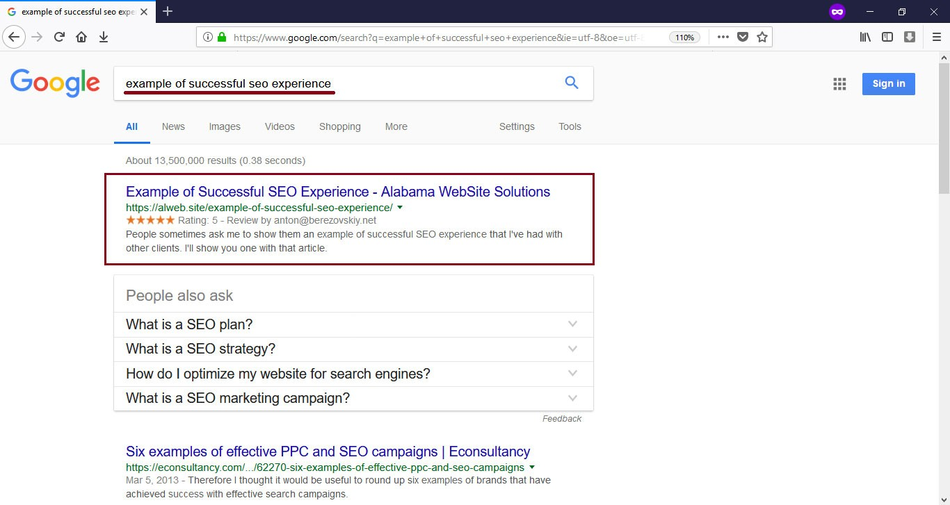example of successful seo project